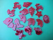 17 Red Plastic 'christmas' Themed Cookie Cutters - All In Perfect Condition