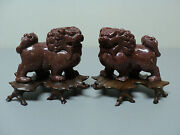 Nice Pair Antique Chinese Carved Hardstone Foo Dogs, Original Carved Bases