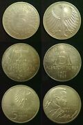 Germany Silver 5 Deutsche Mark 1951 To 1974 625 Fine - 11.2g Discounts To 30