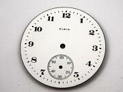Vintage Watch Dial For Pocket Watches Elgin White 42.28mm Numeral Markers Nos