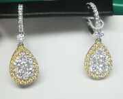 1.57ct F Si Diamond Earrings 18k White And Yellow Gold