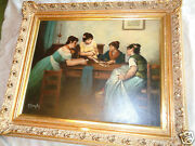 Antique Signed A Baigler Italian Genre Oil Painting Ladies Playing Cards Estate