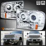 Fits 1999-2004 Ford F250 F350 F450 F550 Led Halo Projector Headlights Left+right