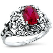 Antique Victorian Style Red Lab Ruby .925 Sterling Silver Ring,       211
