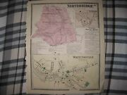 Antique 1870 Northbridge Whitinsville Linwood Worcester County Massachusetts Map