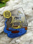 Rare Viking Boat Race Enamel Badge Made By Adam Donner Wuppertal