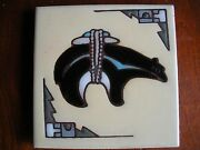 Alaskan Art Tile -red Clay, Enamel On Cream - 4 Inches Square