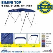 Bimini Top Boat Cover 4 Bow 54 H 73 - 78 W 8 Ft. L. Solution Dye Navy Blue