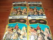 Old 1950's Western Toy Set - Watch Badge And Lone Ranger Style Mask