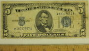 1934d Silver Certificate Star Note Paper Currency Very Fine Condition 5 Bill