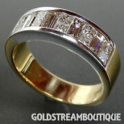 18k Two Tone Gold 1.75 Tcw Princess And Baguette Cut Diamonds Band Ring Size 6
