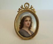 19th C. Miniature Painting Of Ruth On Porcelain, Ornate Brass Frame