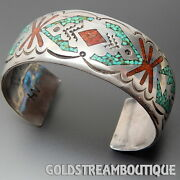 Old Dead Pawn Zuni Navajo 925 Silver Coral Turquoise Wide Unisex Cuff Bracelet