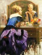 Pino By The Mirror   Signed Embellished Canvas   Stretched   Make An Offer