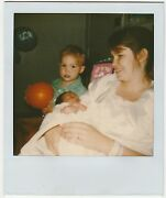 Vintage 80s Polaroid Photo Young Mother W/ Little Boy Son And Newborn Baby