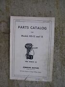 1952 Johnson Sea Horse 25 Outboard Motor Model Rd - 12 And 13 Parts Catalog Boat L