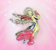 Pink Crystal Silver Angel Breast Cancer Awareness Ribbon Brooch Pingift For Her