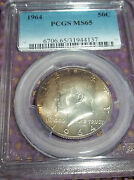 1964 Pcgs Ms65 Kennedy Half For The Colorful Tone Collector 137