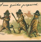 Mint.. Louis Wain Police Cats Quite Prepared Tuck Write Away Postcard