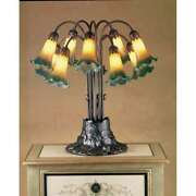 Meyda Lighting 22and039h Amber/green Pond Lily 10 Lt Table Lamp Amber/green - 14357
