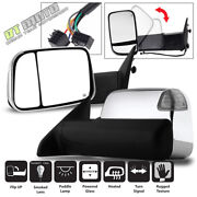 Left+right 2009-2012 Ram Power+heated+led+puddle/signal Tow Flipup Chrome Mirror