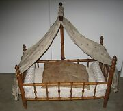 Antique Doll French Faux Bamboo Maplewood Half Tester Bed Original Fabric