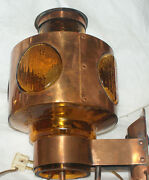 Mid Century Modern Pair Solid Copper Glass Nautical Look Wall Lamps Rare Find