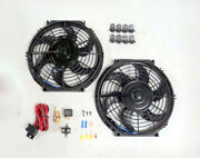 9 Dual Electric Radiator Fan With 210 Degree Temperature Switch Relay Kit New