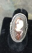 Collectable Navajo Apalousa 'white' Turquoise And Ss Ring