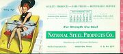 Ink Blotter National Steel Products Houston Texas Gil Elvgren Pin-up 2 1955