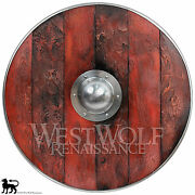 Aged Wood Viking Shield In Brimstone Red --- Sca/larp/norse/norway/antique/armor