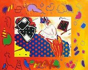 Peter Max Rising Sun Collage 2 Overpaint   Unique Mixed Media   Framed
