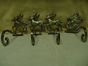 Very Rare Vntg Large Heavy Silver Santa And 3 Reindeer Christmas Stocking Holders