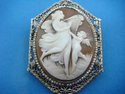 Stunning 150 Years Old Cameo Brooch In 14k Gold Filigree Frame With Seed Pearls