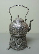 Gorgeous 19th C. Netherlands .835 Dutch Silver Tea / Water Kettle On Stand