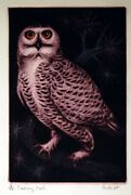 Jack Coutu Snowy Owl Etching And Christmas Card 1968