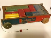 Vintage Holgate Block Set With Wagon And 23 Blocks Of Different Colors