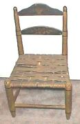Old Mustard American Paint Antique Painted Toile Decorated Doll Chair