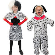 Kids Evil Dog Lady Or Dalmatian Fancy Dress Costume World Book Day Character