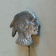 Rare Silver Indian Head Stick Pin Cut From 1936 U.s. Nickle Coin