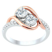 1.00 Ct 2 Stone Cocktail Diamond Ring G Si In 14k White And Rose Gold