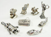 Vintage Sterling 8 Traditional Charms 3d Frogger Shoes Purse Rocking Chair Horse