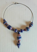 19th C. Antique Venetian 6-layer African Trade Bead Necklace 8 Large Beads