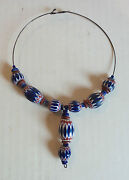 19th C. Antique Venetian 6-layer African Trade Bead Necklace, 8 Large Beads