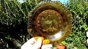 Indiana Glass Octagon Amber 8 Patriotic Eagle Plate 13 Stars With Beaded Edge