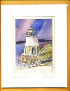 Lou Mcmurray Watercolor Print Signed Lighthouse Castle Hill, Ri