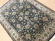 5and039 X 7and039 Black Beige Fine Agra Oriental Area Rug Hand Knotted Office/study Wool