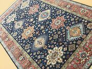 6and039 X 9and039 Navy Blue Rust Fine Geometric Oriental Rug Hand Knotted Geometric Foyer