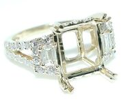 1.25 Ct Emerald/radiant Cut W/ Side Baguettes Diamond Ring Setting 18k Yellow Gd