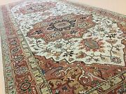 4and039.11 X 11and039.11 Beige Rust Fine Geometric Oriental Rug Wide Runner Hand Knotted